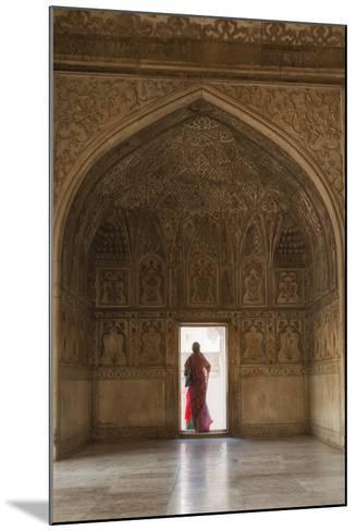 India, Uttar Pradesh, Agra, Agra Fort, a Woman in a Red Saree Walks Through the Interior-Alex Robinson-Mounted Photographic Print