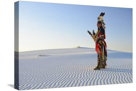 Native American in Full Regalia, White Sands National Monument, New Mexico, Usa Mr-Christian Heeb-Stretched Canvas Print