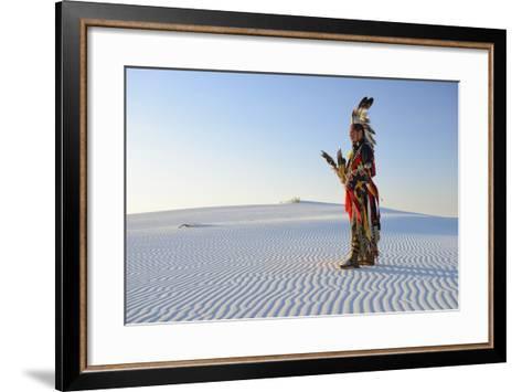 Native American in Full Regalia, White Sands National Monument, New Mexico, Usa Mr-Christian Heeb-Framed Art Print