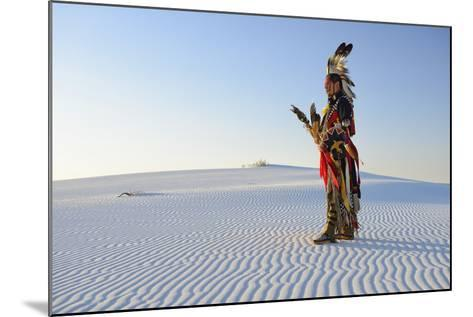 Native American in Full Regalia, White Sands National Monument, New Mexico, Usa Mr-Christian Heeb-Mounted Photographic Print
