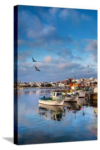 View from Fishing Harbour Towards Old Town, Lagos, Algarve, Portugal-Sabine Lubenow-Stretched Canvas Print