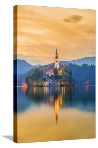Slovenia, Julian Alps, Upper Carniola, Bled, Lake Bled, Bled Island (Blejski Otok) with Church-Alan Copson-Stretched Canvas Print