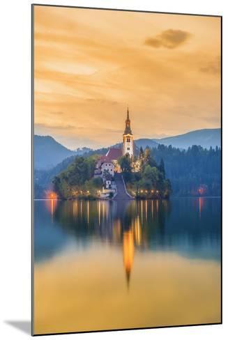 Slovenia, Julian Alps, Upper Carniola, Bled, Lake Bled, Bled Island (Blejski Otok) with Church-Alan Copson-Mounted Photographic Print