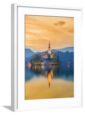 Slovenia, Julian Alps, Upper Carniola, Bled, Lake Bled, Bled Island (Blejski Otok) with Church-Alan Copson-Framed Art Print