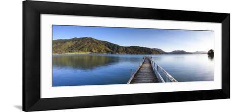 Picturesque Wharf in the Idyllic Kenepuru Sound, Marlborough Sounds, South Island, New Zealand-Doug Pearson-Framed Art Print