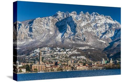 Winter View of City of Lecco with Mount Resegone in the Background, Lake Como, Lombardy, Italy-Stefano Politi Markovina-Stretched Canvas Print