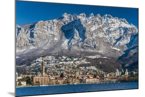 Winter View of City of Lecco with Mount Resegone in the Background, Lake Como, Lombardy, Italy-Stefano Politi Markovina-Mounted Photographic Print
