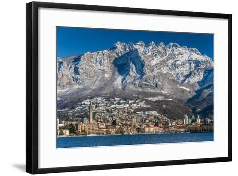 Winter View of City of Lecco with Mount Resegone in the Background, Lake Como, Lombardy, Italy-Stefano Politi Markovina-Framed Art Print