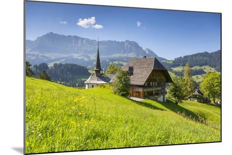 Church and Farmhouse in a Village in the Emmental Valley, Berner Oberland, Switzerland-Jon Arnold-Mounted Photographic Print