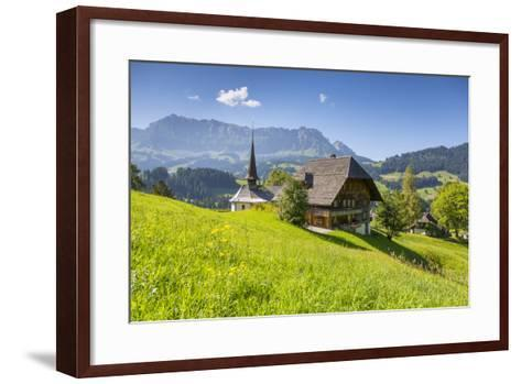 Church and Farmhouse in a Village in the Emmental Valley, Berner Oberland, Switzerland-Jon Arnold-Framed Art Print