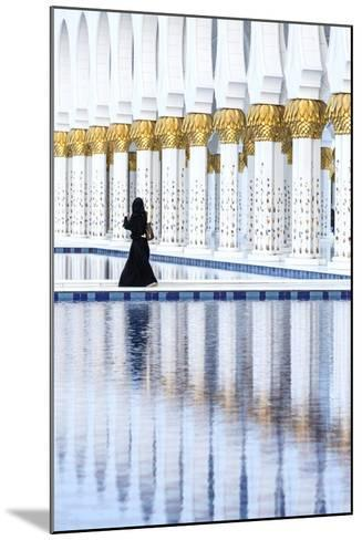 United Arab Emirates, Abu Dhabi. Arabic Woman Walking Inside Sheikh Zayed Grand Mosque-Matteo Colombo-Mounted Photographic Print