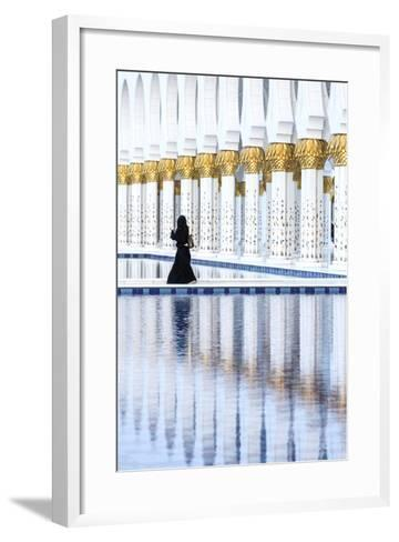 United Arab Emirates, Abu Dhabi. Arabic Woman Walking Inside Sheikh Zayed Grand Mosque-Matteo Colombo-Framed Art Print