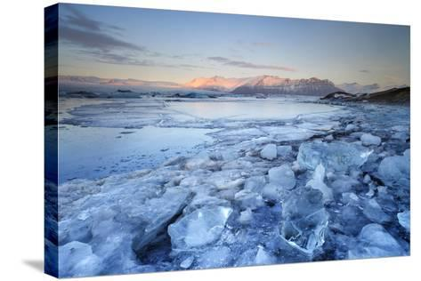 Iceland, South Iceland, Jokulsarlon Lagoon During the First Light of Sunrise-Fortunato Gatto-Stretched Canvas Print