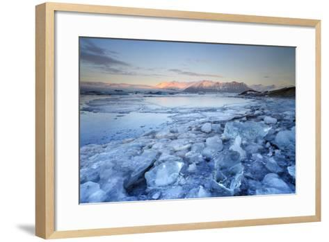 Iceland, South Iceland, Jokulsarlon Lagoon During the First Light of Sunrise-Fortunato Gatto-Framed Art Print
