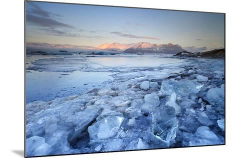 Iceland, South Iceland, Jokulsarlon Lagoon During the First Light of Sunrise-Fortunato Gatto-Mounted Photographic Print