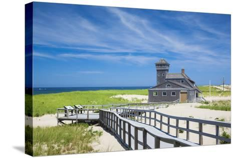 USA, Massachusetts, Cape Cod, Provincetown, Race Point Beach, Old Harbor Life-Saving Station-Walter Bibikow-Stretched Canvas Print