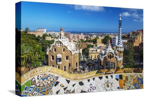 Entrance of Park Güell with City Skyline Behind, Barcelona, Catalonia, Spain-Stefano Politi Markovina-Stretched Canvas Print