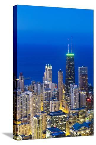 USA, Illinois, Chicago. Elevated Dusk View over the City from the Willis Tower.-Nick Ledger-Stretched Canvas Print