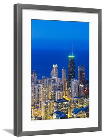 USA, Illinois, Chicago. Elevated Dusk View over the City from the Willis Tower.-Nick Ledger-Framed Art Print