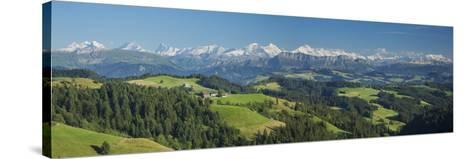 Emmental Valley and Swiss Alps in the Background, Berner Oberland, Switzerland-Jon Arnold-Stretched Canvas Print