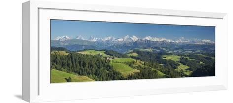 Emmental Valley and Swiss Alps in the Background, Berner Oberland, Switzerland-Jon Arnold-Framed Art Print