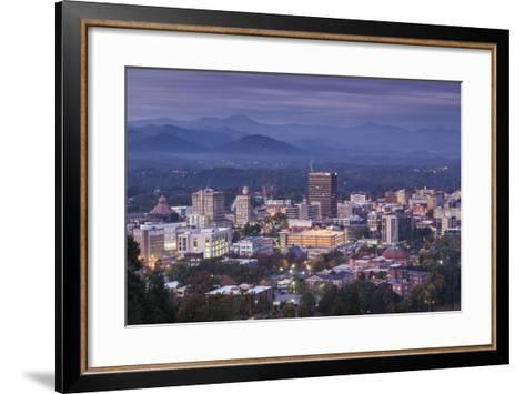 USA, North Carolina, Asheville, Elevated City Skyline-Walter Bibikow-Framed Art Print