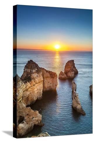 Sunrise, Ponta De Piedade, Lagos, Algarve, Portugal-Sabine Lubenow-Stretched Canvas Print