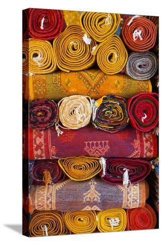 Morocco, Marrakech, Carpets in Market-Andrea Pavan-Stretched Canvas Print