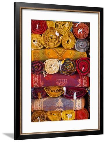 Morocco, Marrakech, Carpets in Market-Andrea Pavan-Framed Art Print