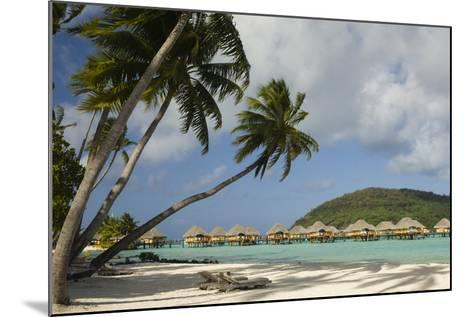 Over-The-Water Bungalows at a Tropical Resort with Clear Turquoise Water and Wind-Blown Palms-Sergio Pitamitz-Mounted Photographic Print