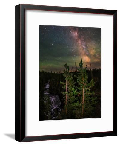 The Summer Milky Way and Green Air Glow in a Dark Starry Sky over Yellowstone National Park-Babak Tafreshi-Framed Art Print