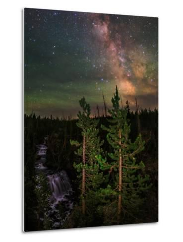 The Summer Milky Way and Green Air Glow in a Dark Starry Sky over Yellowstone National Park-Babak Tafreshi-Metal Print