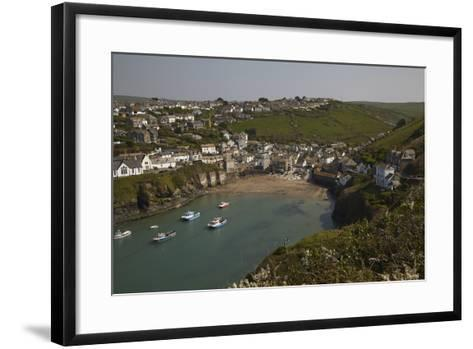A View of the Harbor at Low Tide, at Port Isaac, Near Padstow, on the Atlantic Coast of Cornwall-Nigel Hicks-Framed Art Print