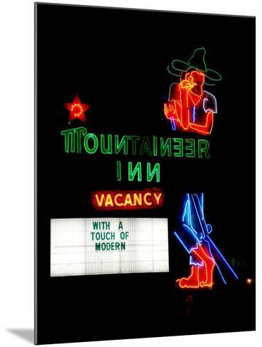 A Stereotypical Mountain Man Graces the Neon Sign of a Local Landmark-Amy and Al White and Petteway-Mounted Photographic Print