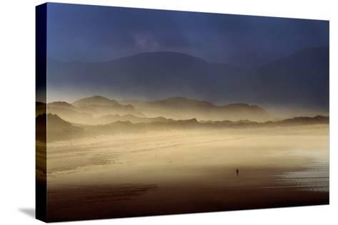A Lone Walker on Inch Strand of Dingle Bay, County Kerry, Ireland-Chris Hill-Stretched Canvas Print