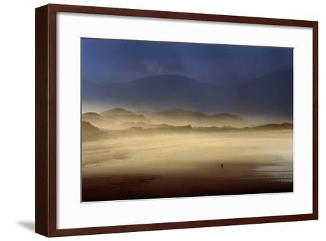 A Lone Walker on Inch Strand of Dingle Bay, County Kerry, Ireland-Chris Hill-Framed Art Print