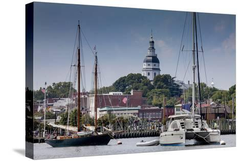 Downtown Annapolis and the State Capitol Dome Seen from the Waterfront-Kent Kobersteen-Stretched Canvas Print