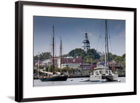Downtown Annapolis and the State Capitol Dome Seen from the Waterfront-Kent Kobersteen-Framed Art Print