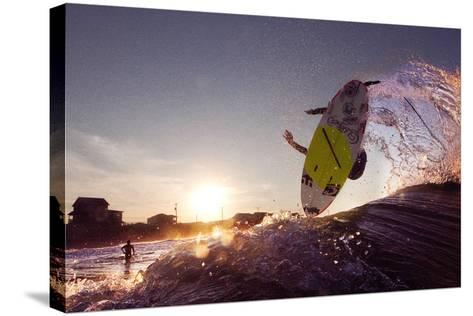 A Young Man Surfing on the Outer Banks of North Carolina-Chris Bickford-Stretched Canvas Print