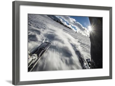 A Skier in the Italian Dolomites Takes a Picture Looking Backwards Through His Legs-Alex Treadway-Framed Art Print