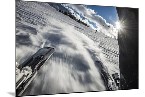 A Skier in the Italian Dolomites Takes a Picture Looking Backwards Through His Legs-Alex Treadway-Mounted Photographic Print