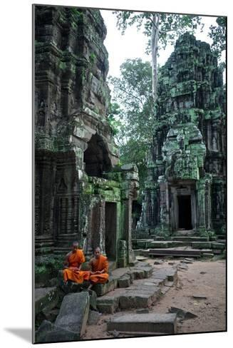 Theraveda Buddhist Monks at the Ta Prohm Temple in the Angkor Complex-Kike Calvo-Mounted Photographic Print