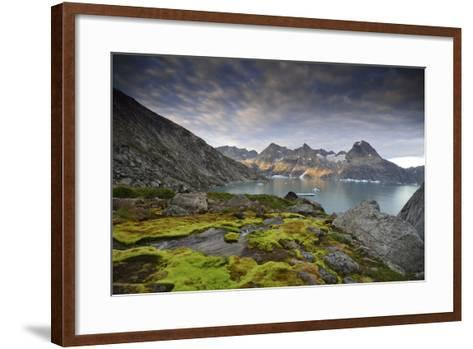 Moss-Covered Stones on a Mountainous Fjord Coast at Sunset-Keith Ladzinski-Framed Art Print