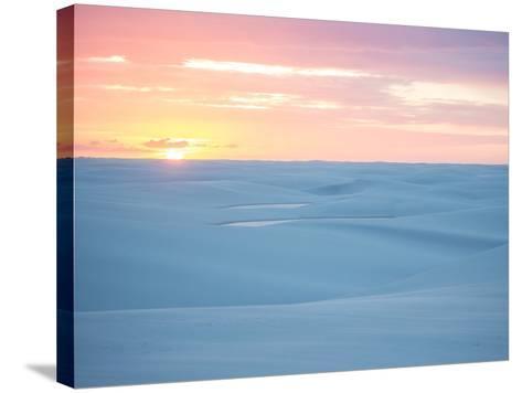 Brazil's Lencois Maranhenses National Park Sand Dunes and Lagoons at Sunset-Alex Saberi-Stretched Canvas Print