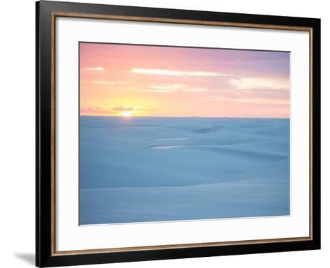 Brazil's Lencois Maranhenses National Park Sand Dunes and Lagoons at Sunset-Alex Saberi-Framed Art Print