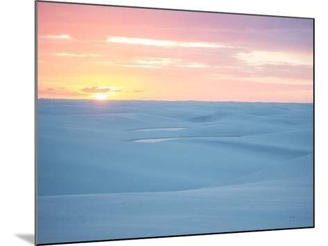 Brazil's Lencois Maranhenses National Park Sand Dunes and Lagoons at Sunset-Alex Saberi-Mounted Photographic Print