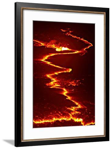 Convection Currents Rip Apart Cooling Lava Crustal Plates on a Lava Lake-Steve And Donna O'Meara-Framed Art Print