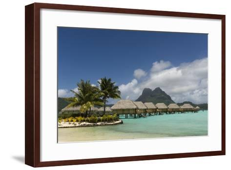 Over-The-Water Bungalows at a Tropical Resort with Clear Turquoise Water-Sergio Pitamitz-Framed Art Print