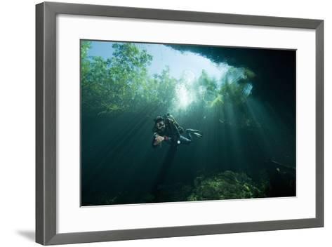 A Cave Diver Explores the Cenote El Pit in Quintana Roo, Mexico-Cesare Naldi-Framed Art Print