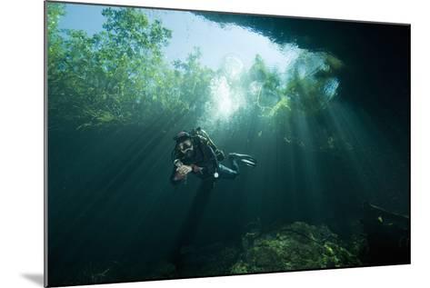 A Cave Diver Explores the Cenote El Pit in Quintana Roo, Mexico-Cesare Naldi-Mounted Photographic Print